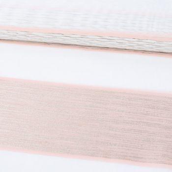 Gardinenstoff Dekostoff Voile Streifen grob Glanz creme beige rosé gold 1,4m Breite – Bild 1