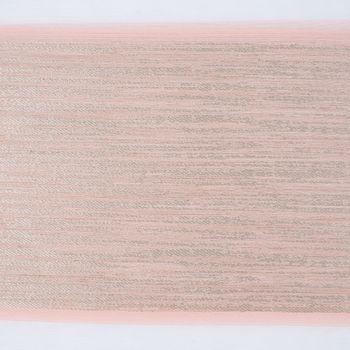 Gardinenstoff Dekostoff Voile Streifen grob Glanz creme beige rosé gold 1,4m Breite – Bild 4
