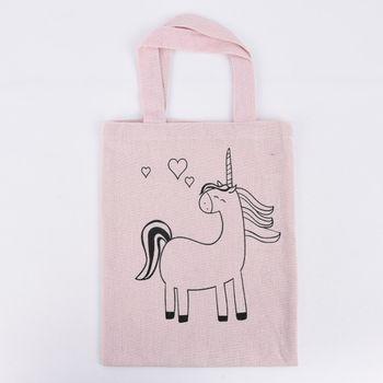 Stoff Tasche mit Einhorn Druck zum ausmalen rosa 20x25cm – Bild 1