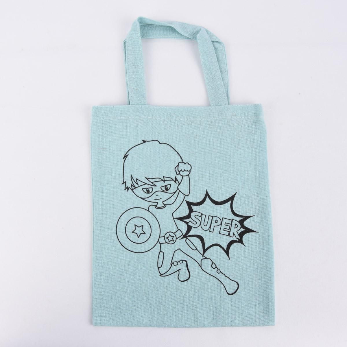Rayher Stoff Tasche mit Superboy Druck zum ausmalen hellblau 20x25cm