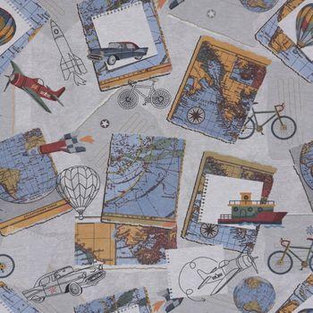 Dekostoff Baumwollstoff Weltreise Vintage Auto Ballon grau weiß bunt 1,40m Breite – Bild 1