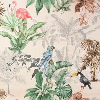 Outdoorstoff Dralon Teflonbeschichtung Palmen Papagei Flamingo beige bunt 1,40m Breite – Bild 1