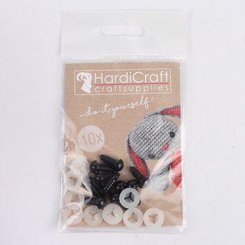 HardiCraft Sicherheitsaugen 10 Stück Kunststoff schwarz 10mm