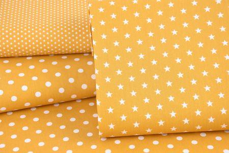 Baumwollstoff Mini Sterne ockergelb weiß 1,40m Breite – Bild 6