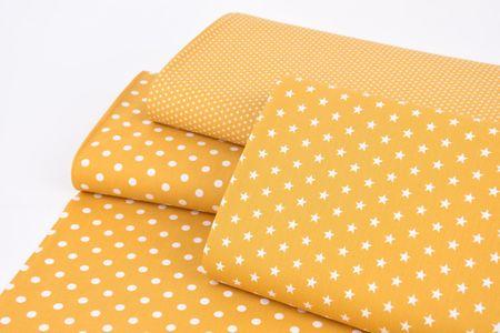 Baumwollstoff Punkte groß Ø 7mm ockergelb weiß 1,40m Breite – Bild 4