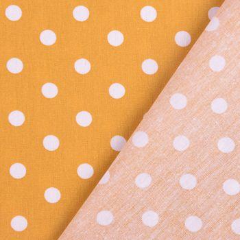 Baumwollstoff Punkte groß Ø 7mm ockergelb weiß 1,40m Breite – Bild 3