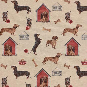 Gobelinstoff Stoff DOGS LIFE Hunde Knochen beige braun rot schwarz 1,40m Breite – Bild 1