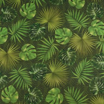 Outdoorstoff Dralon Teflonbeschichtung Palmen Blätter grün Töne 1,40m Breite – Bild 1