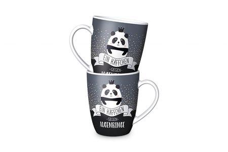 La Vida Porzellan Tasse Panda Käffchen gegen Augenringe grau schwarz weiß 8x10cm