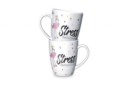 La Vida Porzellan Tasse Flamingo Stress Reduzierer weiß rosa gelb 8x10cm