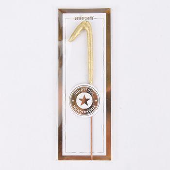 Wondercandle Mini Wunderkerze Zahl rosa goldfarbig 10cm – Bild 3