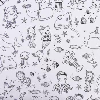 Baumwollstoff Ausmalstoff BELUNGA Unterwasser Party Rochen Wal Krake Qualle 1,5m Breite – Bild 1