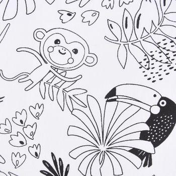 Baumwollstoff Ausmalstoff PAYAKOLO Urwald Tiere Affe Löwe Papagei Faultier 1,5m Breite – Bild 2