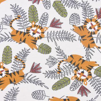 Baumwolljersey Jersey MOKO Löwe Dschungel grau gelb grün 1,5m Breite – Bild 2