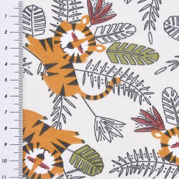 Baumwolljersey Jersey MOKO Löwe Dschungel grau gelb grün 1,5m Breite – Bild 3
