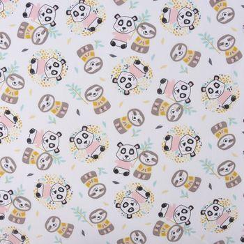 Baumwollstoff WONI Panda Faultier weiß braun rosa türkis gelb grau 1,5m Breite – Bild 1