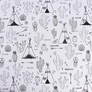Baumwollstoff Ausmalstoff ACOLIER Kaktus Indianerzelt Wüste 1,5m Breite – Bild 1