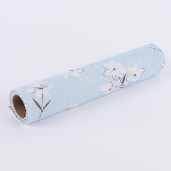 Deko Tischband Streublumen hellblau weiß 30x300cm – Bild 2