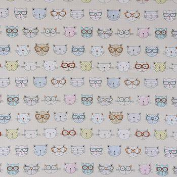 Fryett`s Englischer Dekostoff Baumwollstoff Halbpanama Cool Cats Katzen natur 138cm Breite – Bild 1