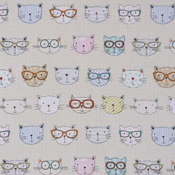 Fryett`s Englischer Dekostoff Baumwollstoff Halbpanama Cool Cats Katzen natur 138cm Breite – Bild 2