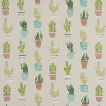 Fryett`s Englischer Dekostoff Baumwollstoff Halbpanama Cactus Kaktus Kakteen natur grün 138cm Breite – Bild 2