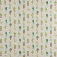 Fryett`s Englischer Dekostoff Baumwollstoff Halbpanama Cactus Kaktus Kakteen natur grün 138cm Breite 001