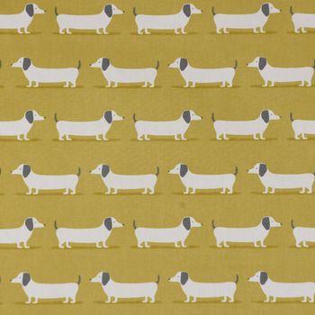 Fryett`s Englischer Dekostoff Baumwollstoff Halbpanama Dackel Dachshund senf gelb 138cm Breite – Bild 2