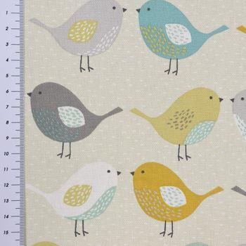Fryett`s Englischer Dekostoff Baumwollstoff Halbpanama Birds Vögel beige grau mint senf 138cm Breite – Bild 4