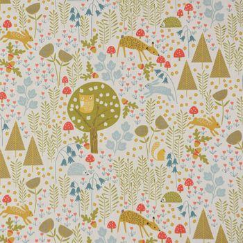 Fryett`s Englischer Dekostoff Baumwollstoff Halbpanama Forrest Wald grün gelb blau 138cm Breite – Bild 2