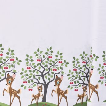 Jersey Stenzo Bordüre beidseitig Reh Kirschbaum weiß braun grün 1,50m Breite – Bild 1