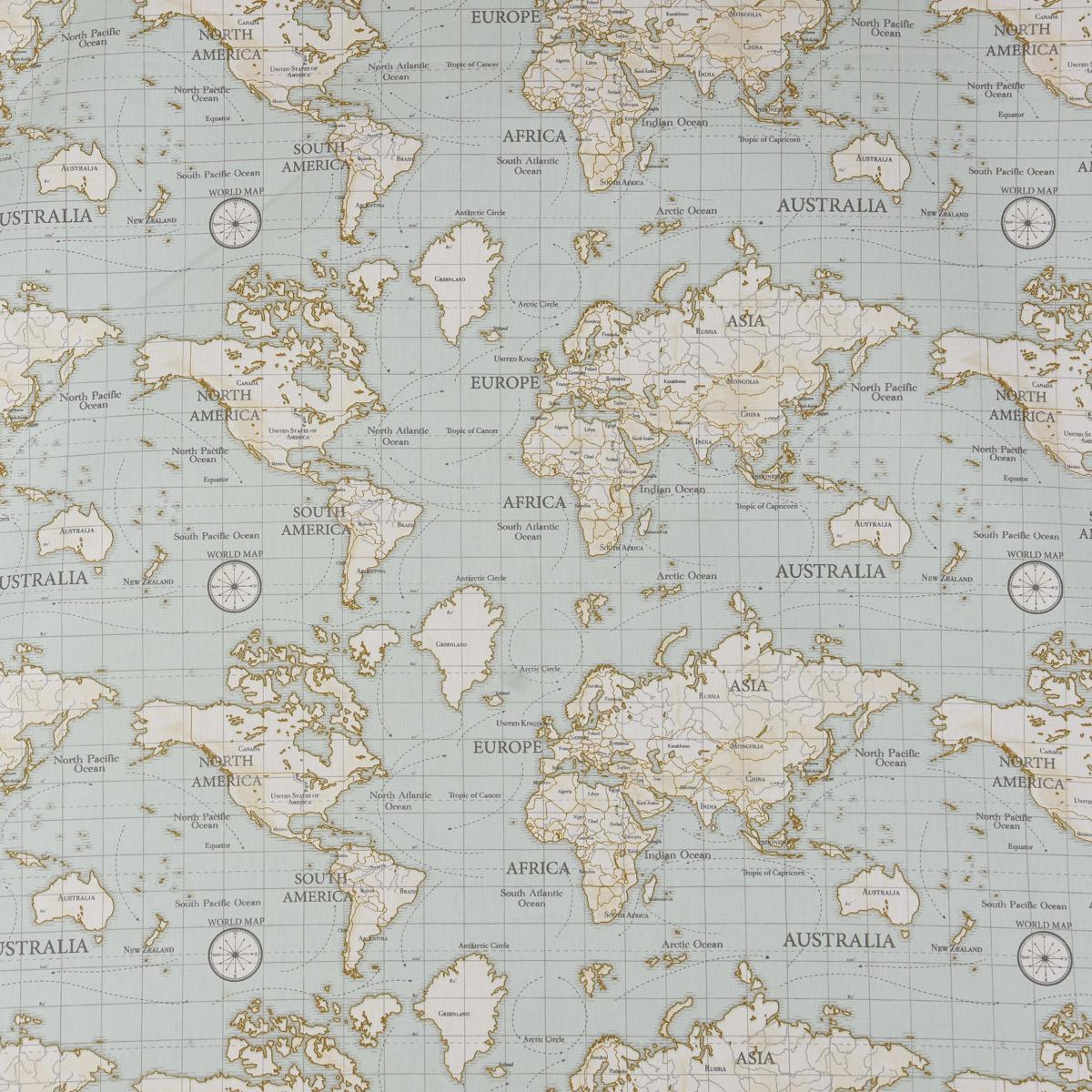 Fryett`s Englischer Dekostoff Baumwollstoff Halbpanama Weltkarte grau 138cm Breite