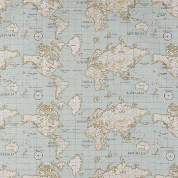 Fryett`s Englischer Dekostoff Baumwollstoff Halbpanama Weltkarte hellblau 138cm Breite – Bild 1