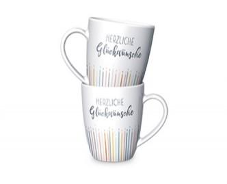 La Vida Porzellan Tasse Herzliche Glückwünsche weiß bunt 8x10cm