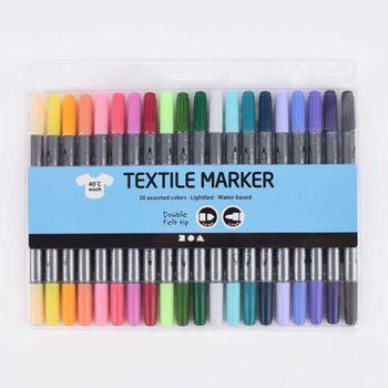Textilmalstifte Set 20 Stück verschiedenfarbig zusätzliche Farben – Bild 1