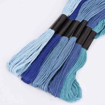 Stickgarn 6 Stück abgestimmte Farben Blautöne 1mmx8m – Bild 2
