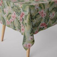 SCHÖNER LEBEN. Tischdecke Orchideen Palmenblätter grün rosa weiß