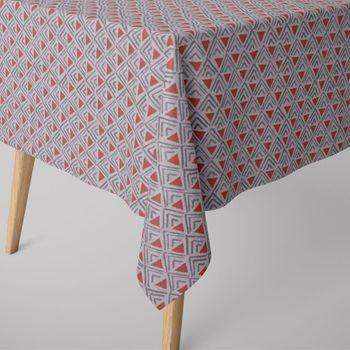 SCHÖNER LEBEN. Tischdecke Dreiecke Retro weiß grau rot – Bild 1