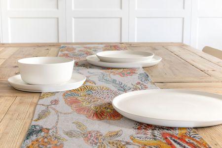 SCHÖNER LEBEN. Tischläufer Blumen Ornament weiß beige bunt 40x160cm – Bild 1