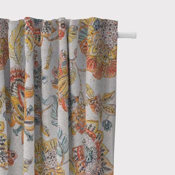 SCHÖNER LEBEN. Vorhang Blumen Ornament weiß beige bunt 245cm oder Wunschlänge – Bild 2