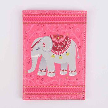 Sass & Belle Reisepassetui Elefant Mandala pink grau 10,5x14cm – Bild 1