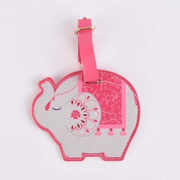 Sass & Belle Gepäckanhänger Elefant pink grau 9,5x13cm – Bild 1