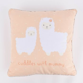 Sass & Belle Deko Kissen Lama cuddles with mummy orange 40x40cm – Bild 1