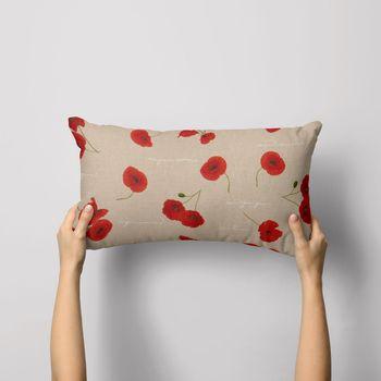 SCHÖNER LEBEN. Kissenhülle Leinenoptik Mohnblumen Schriftzug natur rot grün weiß – Bild 3
