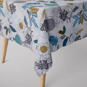 SCHÖNER LEBEN. Tischdecke DIVALI Blumen Blüten Blätter Vogel weiß blau khaki grün schwarz  – Bild 1