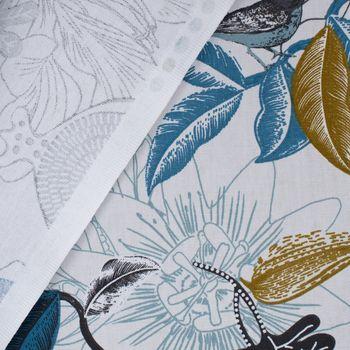 SCHÖNER LEBEN. Tischläufer DIVALI Blumen Blüten Blätter Vogel weiß blau khaki grün schwarz 40x160cm – Bild 5