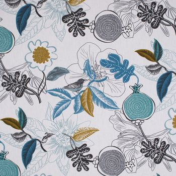SCHÖNER LEBEN. Kissenhülle DIVALI Blumen Blüten Blätter Vogel weiß blau khaki grün schwarz – Bild 7