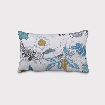 SCHÖNER LEBEN. Kissenhülle DIVALI Blumen Blüten Blätter Vogel weiß blau khaki grün schwarz – Bild 2