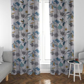 SCHÖNER LEBEN. Vorhang DIVALI Blumen Blüten Blätter Vogel weiß blau khaki grün schwarz 245cm oder Wunschlänge – Bild 3