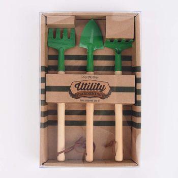 Temerity Jones Mini Gartenhelfer Set Utility 3teilig natur grün 22,5x14,5x3cm – Bild 1