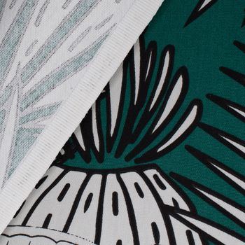 SCHÖNER LEBEN. Tischdecke Kaktus Palmen Blätter grün weiß schwarz – Bild 5